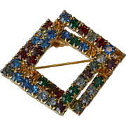 Multi Color Rhinestone Squares Brooch Pin