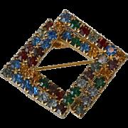 Multi Color Rhinestone Squares Brooch Pin