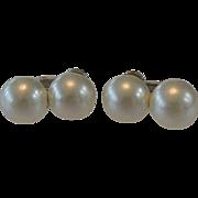 White Faux Pearls Screw Clip Earrings