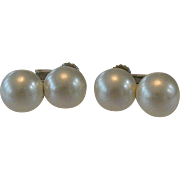 White Faux Pearls Screw Clip Earrings