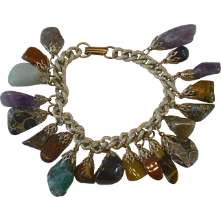 Vintage Natural Stones Dangle Bracelet With Many Colors