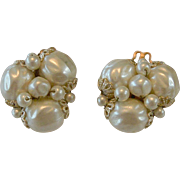 Japan Baroque Faux Pearl Clip Earrings