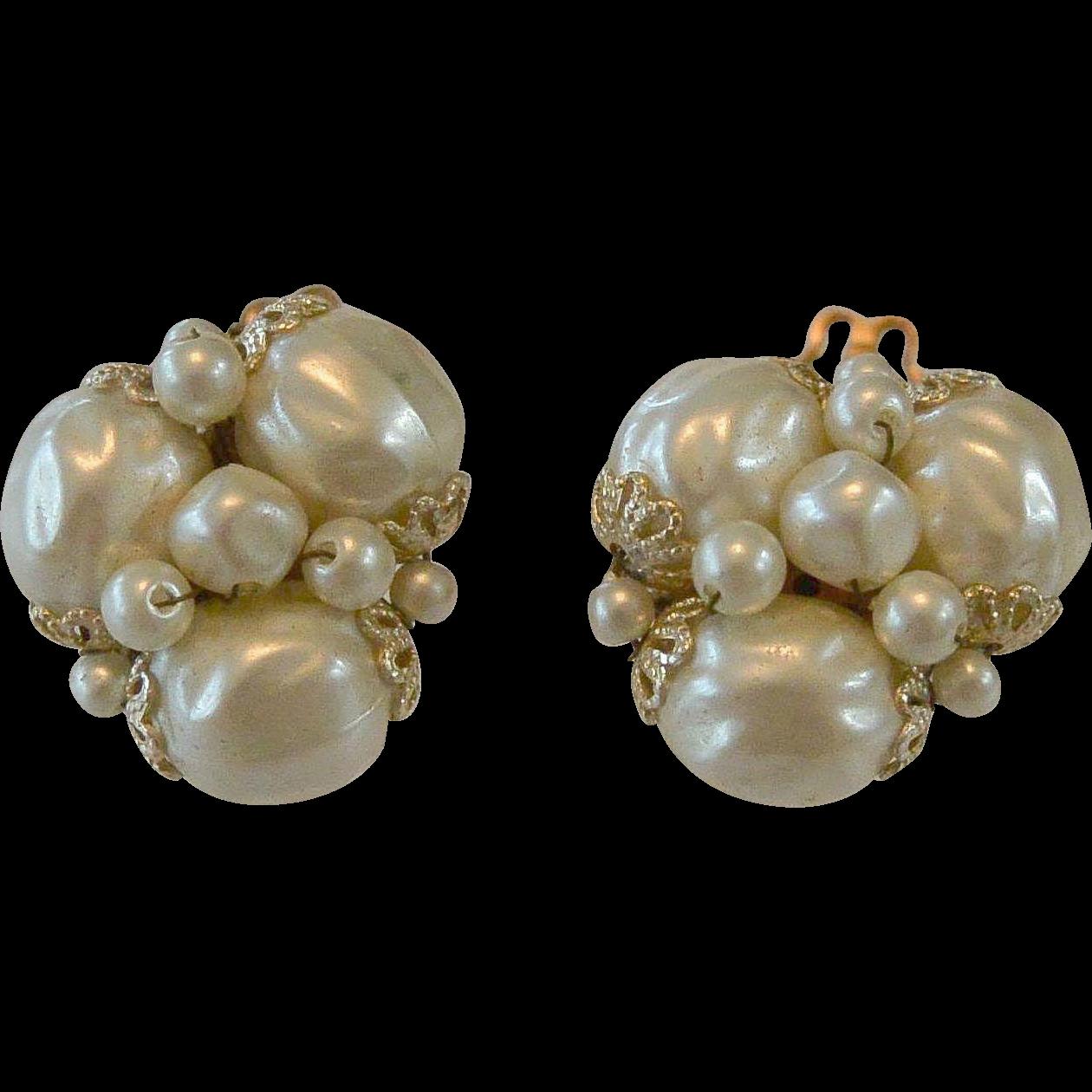 Japan Baroque Faux Pearl Clip Earrings