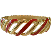 Trifari Red Enameled Clamp Bracelet
