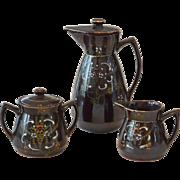 Moriage Redware Ceramic Chocolate Pot Set