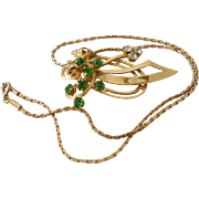 Mid Century Retro Pendant Necklace Green Rhinestones