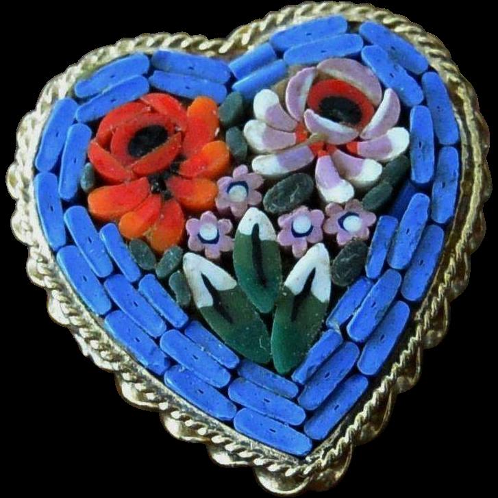 Micro Mosaic Heart Pin Italy