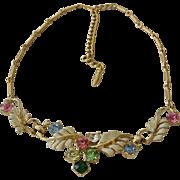 Rhinestone And Enamel Lavaliere  Necklace