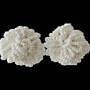 White Glass Seed Bead Screw Back Earrings