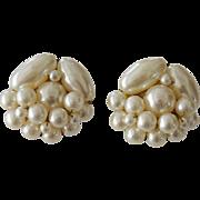 Japan Faux Pearls Cluster Clip Earrings