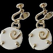 Mod 1980's White Dangle Screw Back Earrings