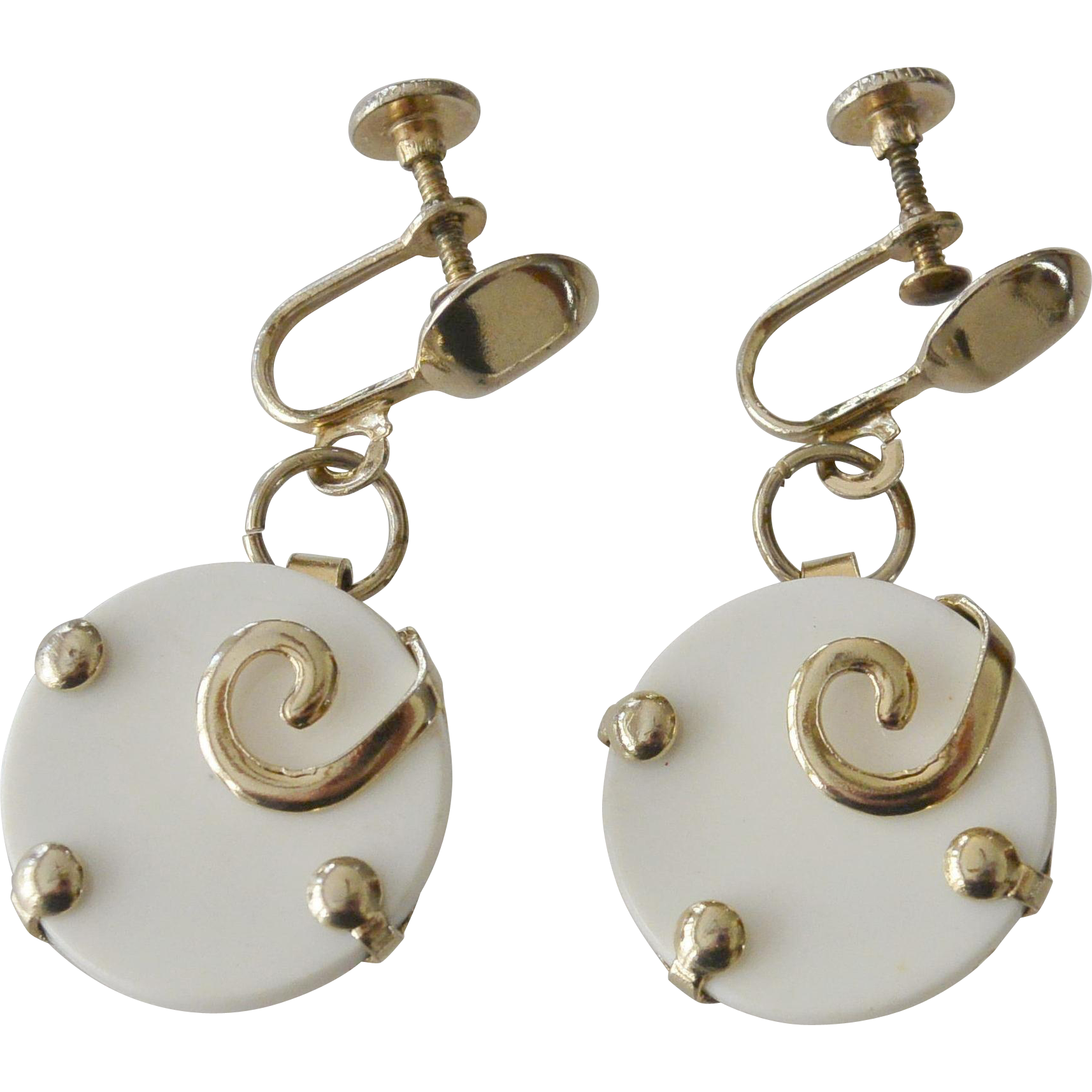 Mod 1980's White Dangle Screw Back Earrings