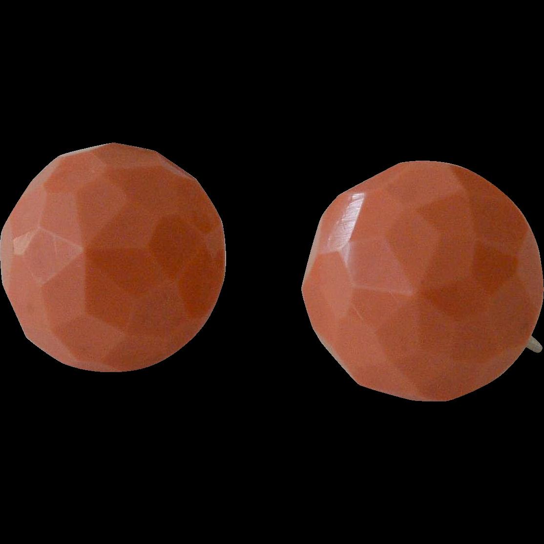 Screw Back Peach Button Earrings