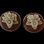 Celluloid Flowers Clip Earrings