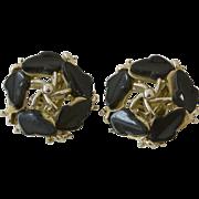 B.S.K.  Black Glass Clip Earrings