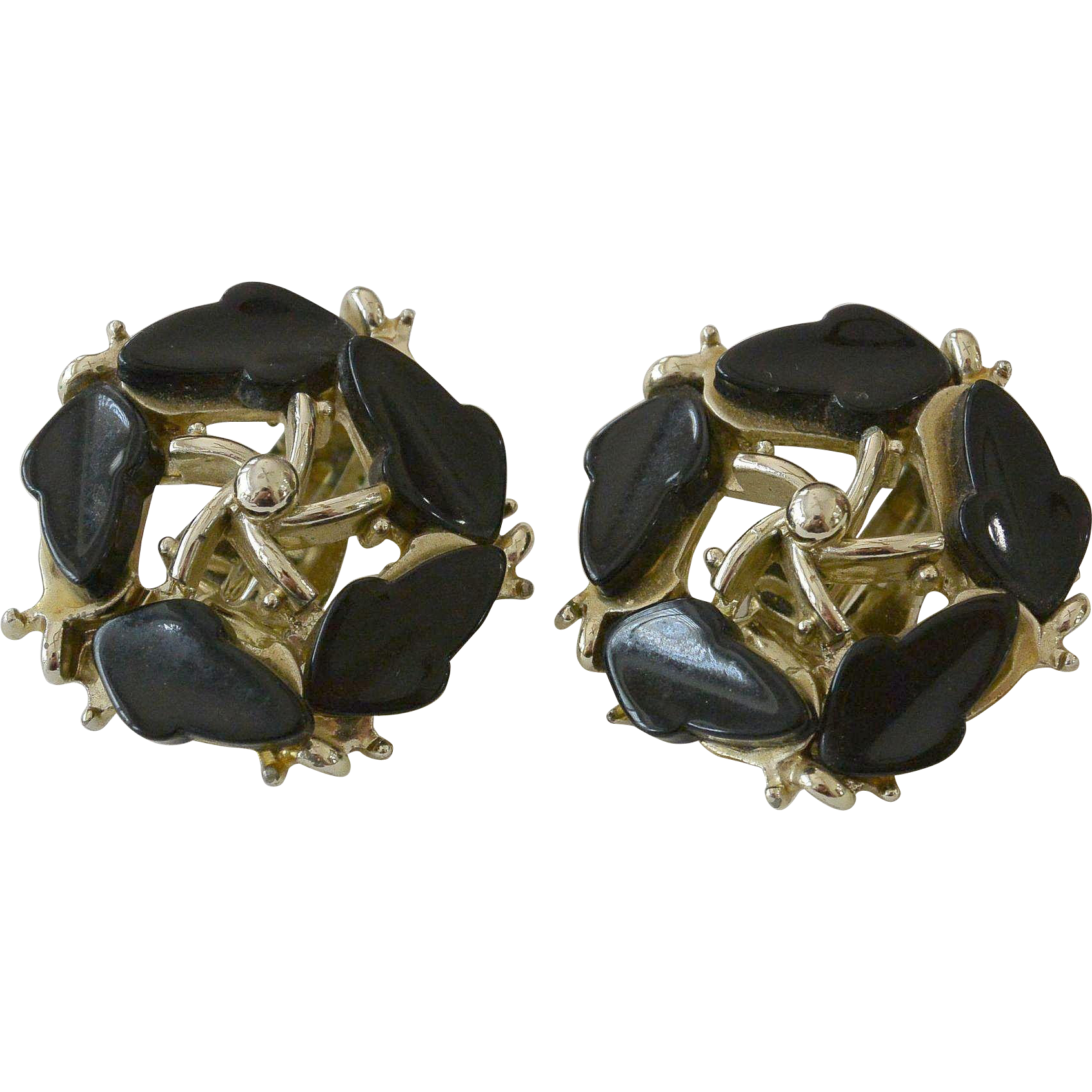 B.S.K.  Black Glass Clip Earrings