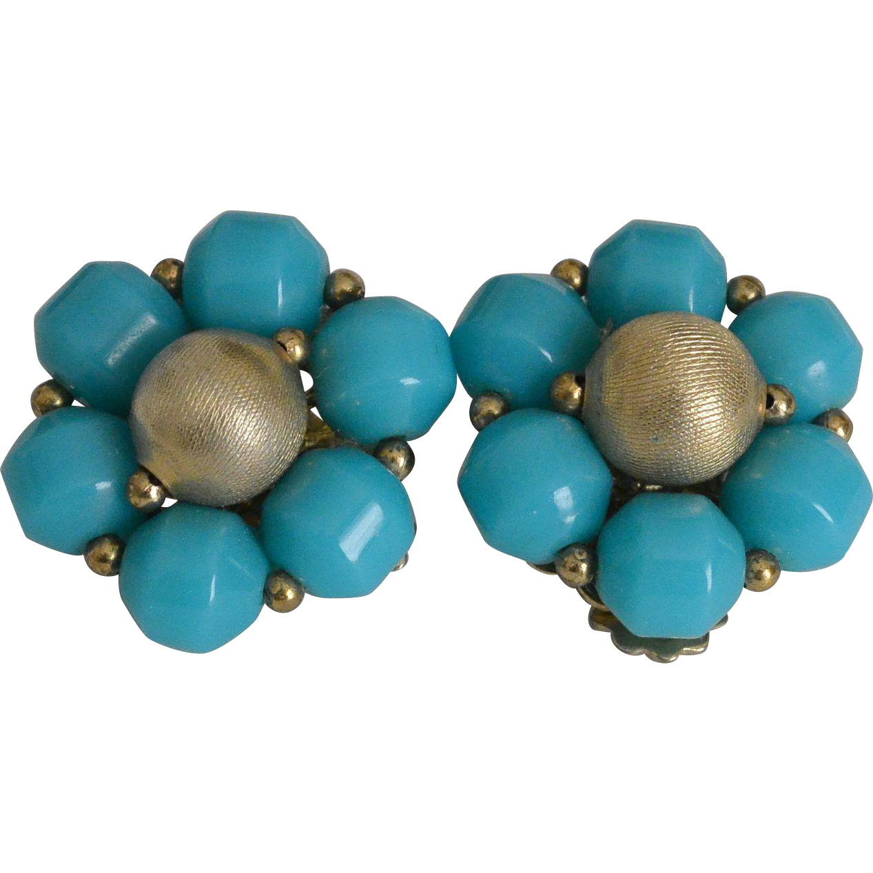 Turquoise Bead Cluster Clip Earrings