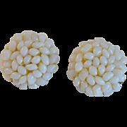 Opalescent Bead Cluster Clip Earrings