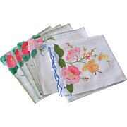 Five Floral Applique Linen Cocktail Napkins