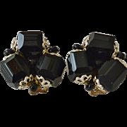Japan Black Glass Beads Clip Earrings