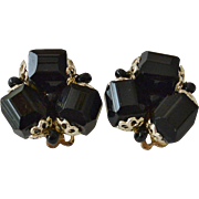 Japan Black Glass Beads Clip Earrings