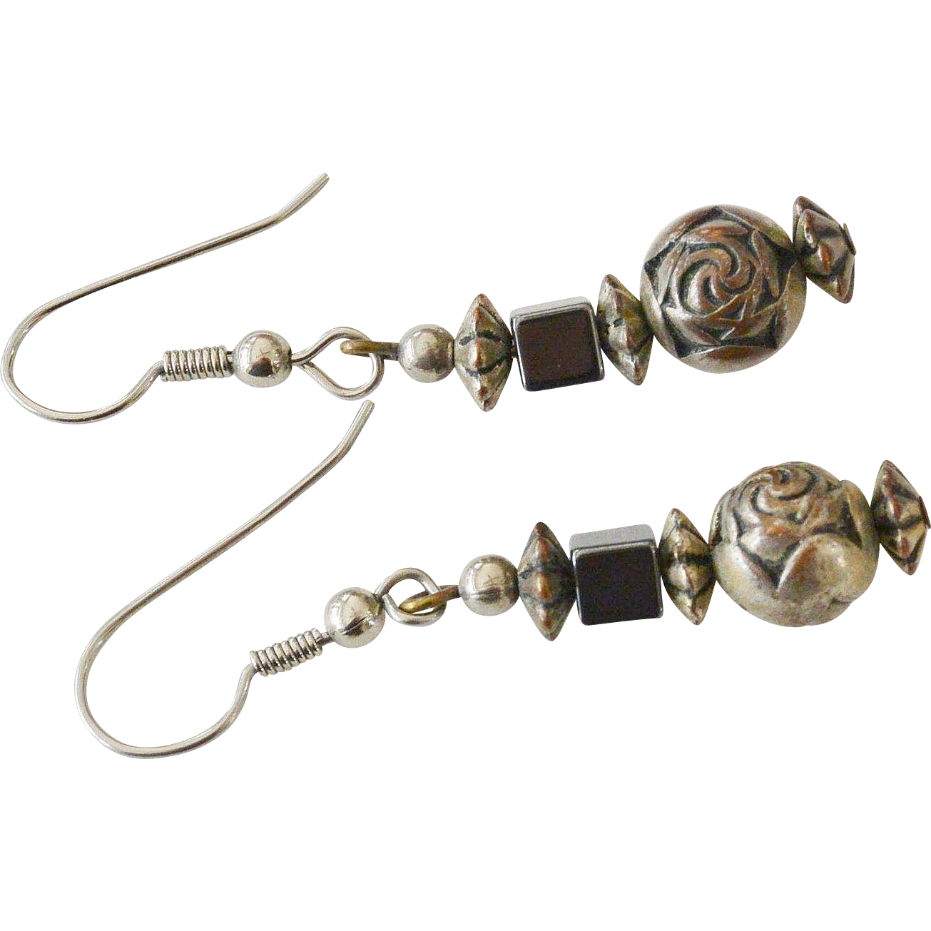 Cabbage Rose Pewter Color Dangle Earrings