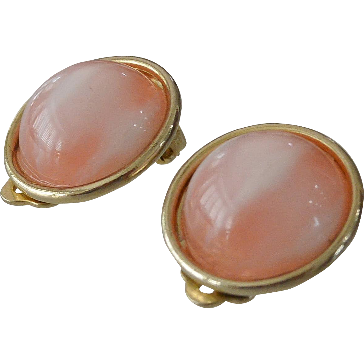Pink Glass Moon Glow Clip Earrings Signed Lisner