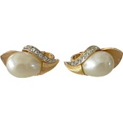 Crown Trifari Faux Pearls Clip Earrings