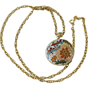 Cloisonne Pendant Necklace Flowers Theme