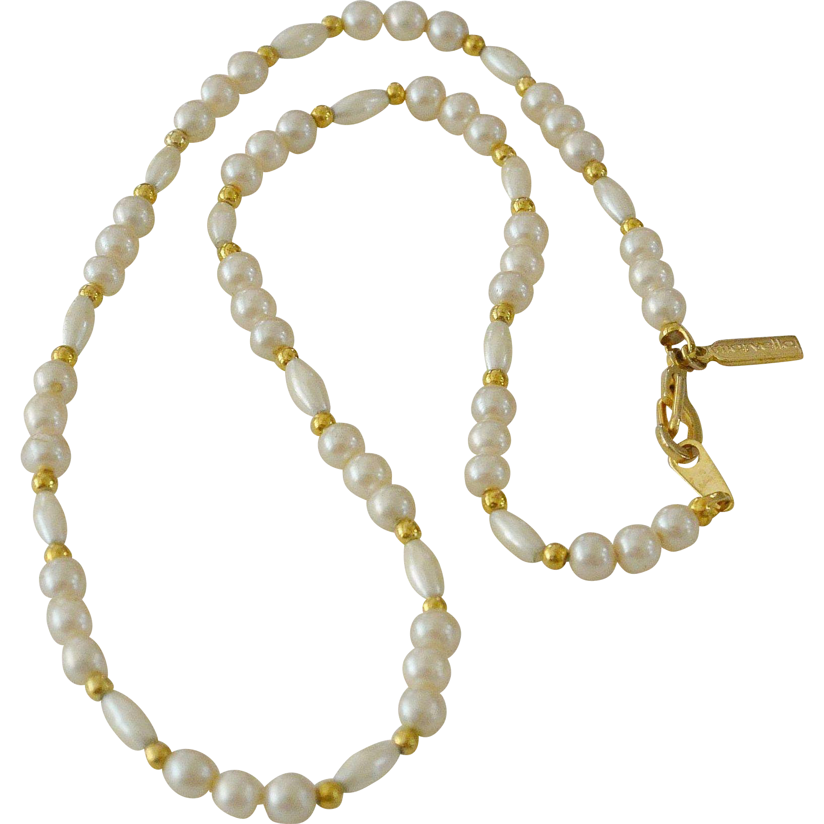 Marvella Faux Pearls Gold Tone Beads Necklace