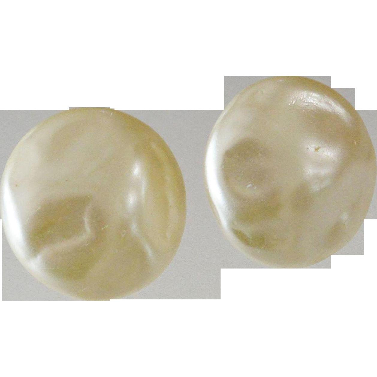 Richelieu Faux Baroque Mabe Pearl Clip Earrings