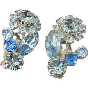 Austria Blue Rhinestones Clip Earrings