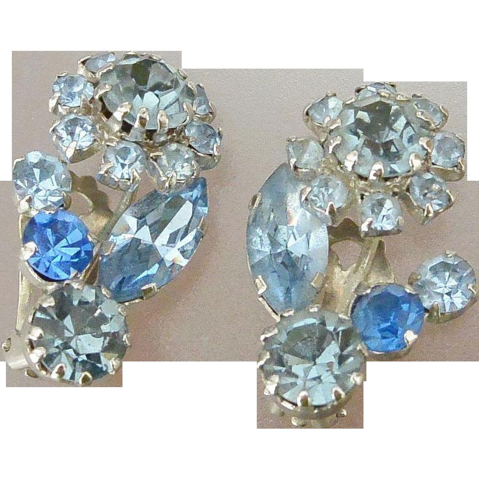 Austria Blue Rhinestones Clip Earrings
