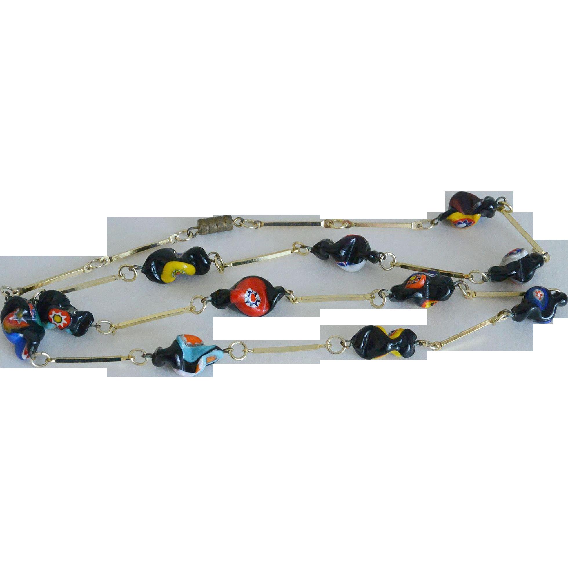 Millefiori Art Glass Long Links Necklace