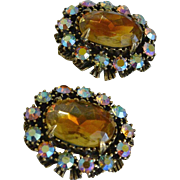 Unsigned Florenza Citrine Glass Cabochon Clip Earrings