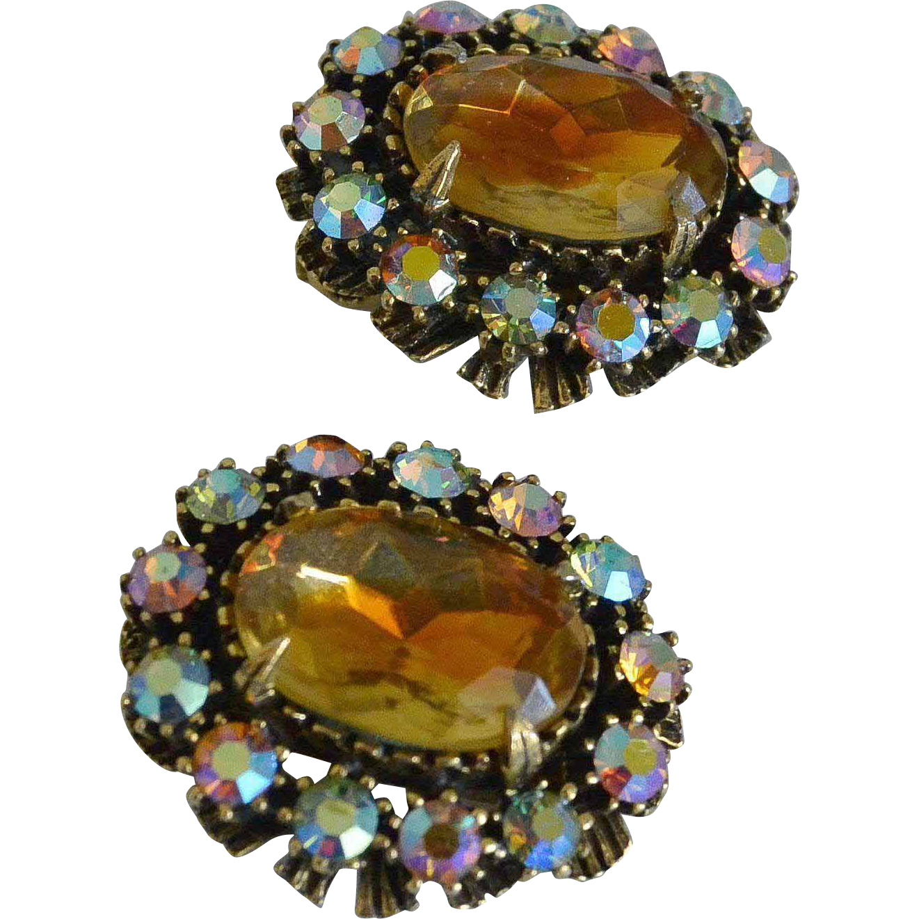 Stunning Amber Glass Cabochon Rhinestone Clip Earrings