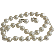 Long Faux Pearls Necklace and Earrings Set Signed Japan