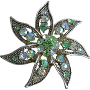 Star Fish Motif Green Rhinestone Pin