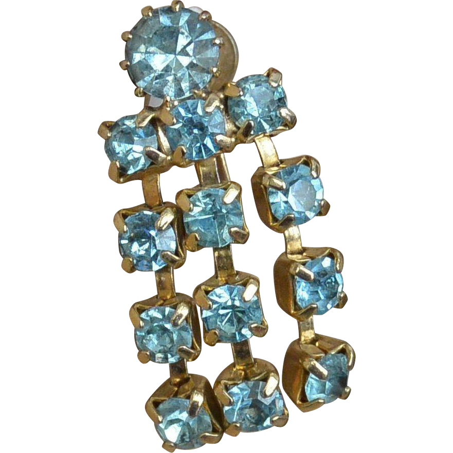 Topaz Blue Rhinestone Screw Back Drop Earrings