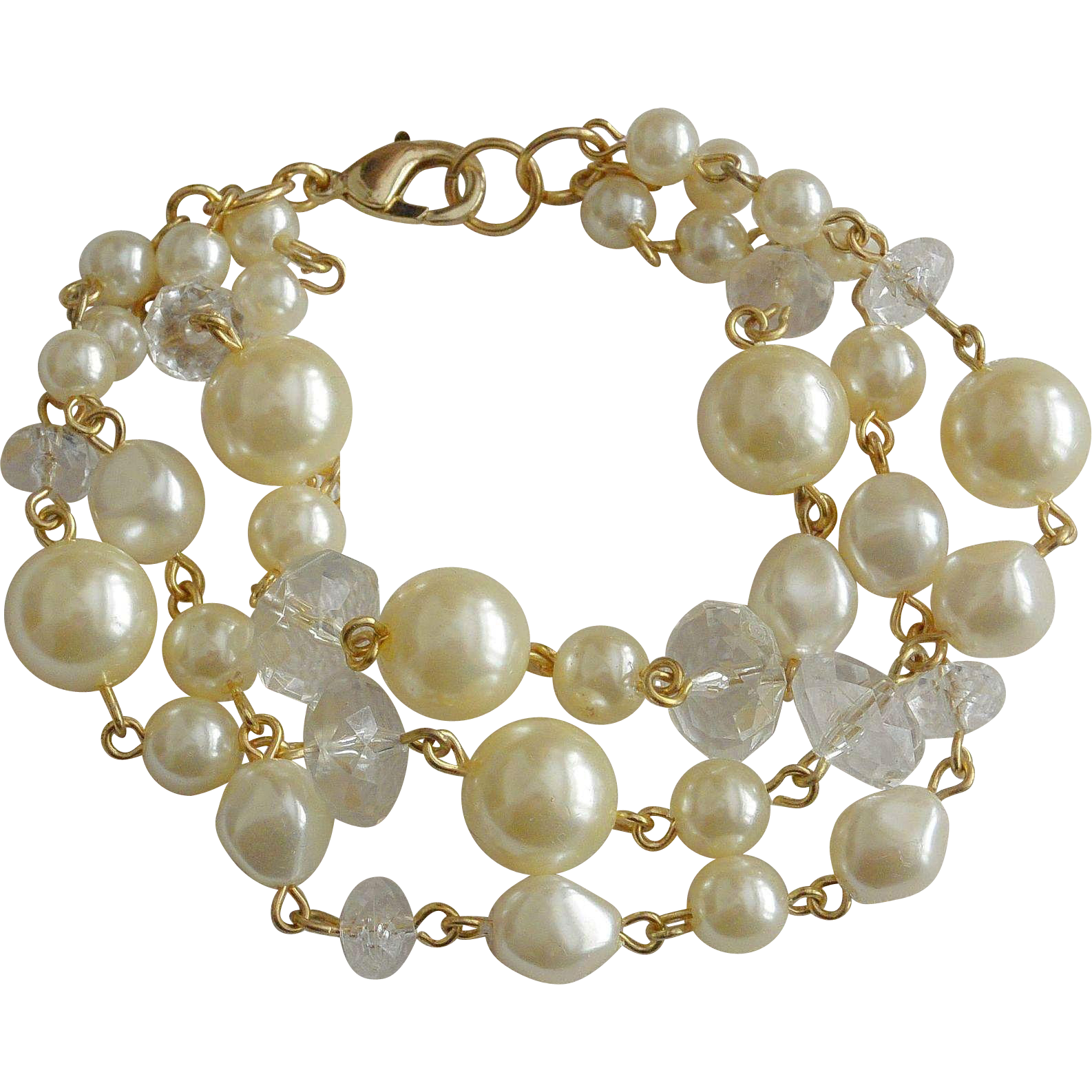 Three Strands Mixed Faux Pearls and Lucite Beads Bracelet