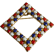 Patriotic Red White and Blue Glass Stones Pin
