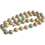 Pastel Colors Faux Pearls Necklace