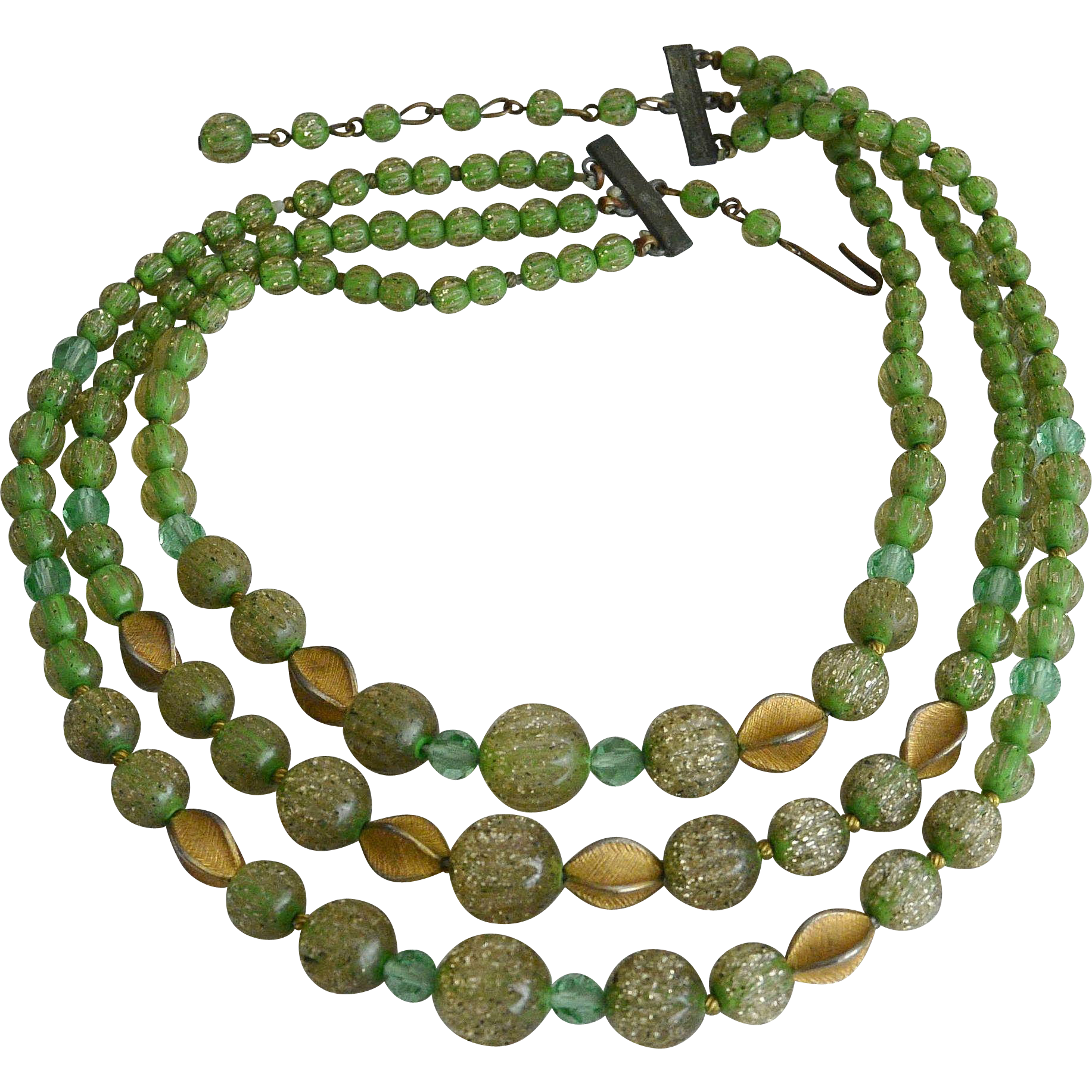 Three Strands Green Sugar Beads Necklace