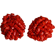 Red Seed Beads Woven Clip Back Earrings