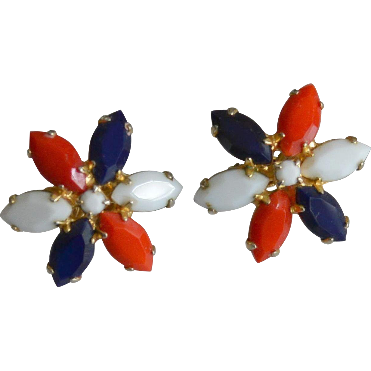 Red White And Blue Glass Marquis Stones Clip Earrings