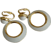 Crown Trifari Summer White Enameled Hoop Clip Earrings