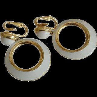 Crown Trifari Summer White Enameled Hoop Clip Earrings