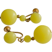 Yellow Beads Dangle Screw Back Earrings