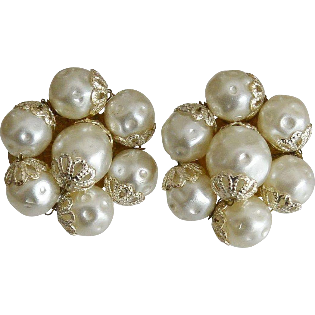 Baroque Faux Pearls Clip Earrings Signed Japan