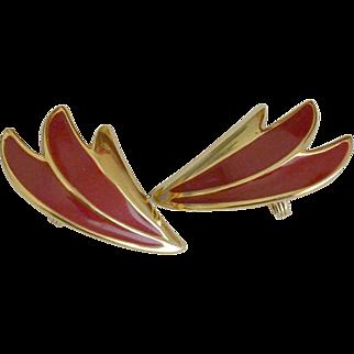 Monet Red Enamel Clip Earrings